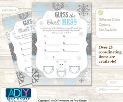 Boy Polar Bear Dirty Diaper Game or Guess Sweet Mess Game for a Baby Shower grey blue, Snowflake