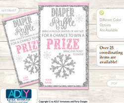 Girl Snowflake Wishes for a Baby, Well Wishes for a Little Snowflake Printable Card, Winter, Pink Grey  Girl Snowflake Diaper Raffle Printable Tickets for Baby Shower, Pink Grey, Winter