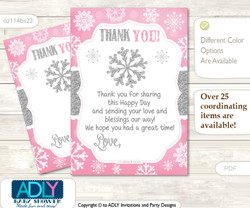 Girl  Snowflake Thank you Cards for a Baby Girl Shower or Birthday DIY Pink Grey, Winter