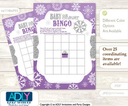 Printable Purple Grey Snowflake Bingo Game Printable Card for Baby Girl Shower DIY grey, Purple Grey, Winter