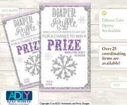 Girl Snowflake Diaper Raffle Printable Tickets for Baby Shower, Purple Grey, Winter