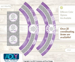 Printable Girl Snowflake Cupcake, Muffins Wrappers plus Thank You tags for Baby Shower Purple Grey, Winter