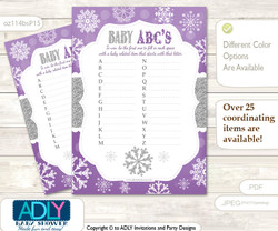 Girl Snowflake Baby ABC's Game, guess Animals Printable Card for Baby Snowflake Shower DIY –Winter