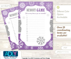 Girl Snowflake Memory Game Card for Baby Shower, Printable Guess Card, Purple Grey, Winter