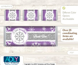 Girl Snowflake Chocolate Bar Wrapper and Nuggets Candy Wrapper Label for Baby Girl Shower  Purple Grey , Winter