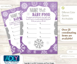 Girl Snowflake Guess Baby Food Game or Name That Baby Food Game for a Baby Shower, Purple Grey Winter