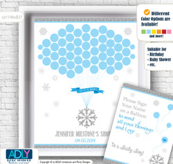 Boy Snowflake Guest Book Alternative for a Baby Shower, Creative Nursery Wall Art Gift, Blue Grey, Silver