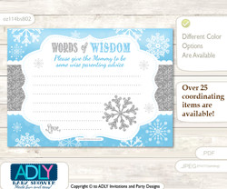 Blue Grey Boy Snowflake Words of Wisdom or an Advice Printable Card for Baby Shower, Silver