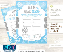 Boy Snowflake Dirty Diaper Game or Guess Sweet Mess Game for a Baby Shower Blue Grey, Silver