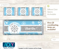 Boy Snowflake Chocolate Bar Wrapper and Nuggets Candy Wrapper Label for Baby Boy Shower  Blue Grey , Silver