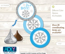 Printable  Boy Snowflake Candy Kisses for Baby Boy Shower DIY Blue Grey , Silver