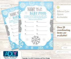 Boy Snowflake Guess Baby Food Game or Name That Baby Food Game for a Baby Shower, Blue Grey Silver
