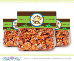 Boy Monkey Jungle, Safari Treat Goodie Bag Toppers Labels for Baby Boy Shower, Birthday Favors DIY  - ONLY digital file - you print