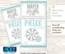 Neutral Snowflake Diaper Raffle Printable Tickets for Baby Shower, Aqua Grey, Chevron