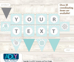 Personalized Neutral Snowflake Printable Banner for Baby Shower, Aqua Grey, Chevron