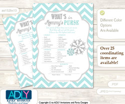 Neutral Snowflake What is in Mommy's Purse, Baby Shower Purse Game Printable Card , Aqua Grey,  Chevron