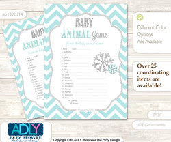 Printable Neutral Snowflake Baby Animal Game, Guess Names of Baby Animals Printable for Baby Snowflake Shower, Aqua Grey, Chevron