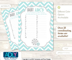 Neutral Snowflake Baby ABC's Game, guess Animals Printable Card for Baby Snowflake Shower DIY –Chevron