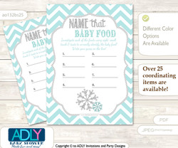 Neutral Snowflake Guess Baby Food Game or Name That Baby Food Game for a Baby Shower, Aqua Grey Chevron