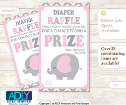 Girl Elephant Diaper Raffle Printable Tickets for Baby Shower, Polka, Chevron