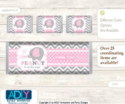 Girl Elephant Chocolate Bar Wrapper and Nuggets Candy Wrapper Label for Baby Girl Shower  Polka , Chevron