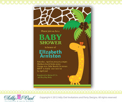Personalized  Safari Giraffe Boy Baby Shower Printable DIY party invitation for boy - ONLY digital file - you print