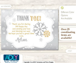 Neutral Snowflake Thank you Printable Card with Name Personalization for Baby Shower