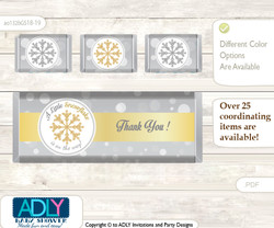 Neutral Snowflake Chocolate Bar Wrapper and Nuggets Candy Wrapper Label for Baby Neutral Shower  Gold , Grey