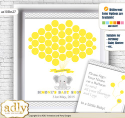 Grey Elephant Guest Book Alternative for a Baby Shower, Creative Nursery Wall Art Gift, Yellow, Chevron