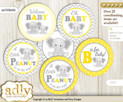 Baby Shower Grey Elephant Cupcake Toppers Printable File for Little Grey and Mommy-to-be, favor tags, circle toppers, Chevron, Yellow