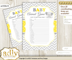Printable Grey Elephant Baby Animal Game, Guess Names of Baby Animals Printable for Baby Elephant Shower, Yellow, Chevron