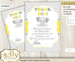 Grey  Elephant Thank you Cards for a Baby Grey Shower or Birthday DIY Yellow, Chevron