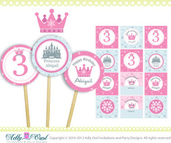 Winter Fairy Princess Girl Birthday Cupcake Toppers, Tags with Snowflakes, castle, crown, winter birthday - ONLY digital file - ao57,60