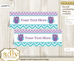 Printable Girl Owl Buffet Tags or Food Tent Labels  for a Baby Shower or Birthday , Teal Purple, Chevron