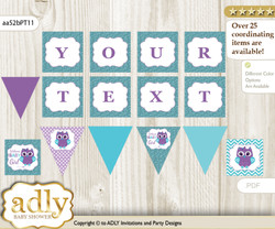 Personalized Girl Owl Printable Banner for Baby Shower, Teal Purple, Chevron