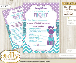 Printable Girl Owl Price is Right Game Card for Baby Owl Shower, Teal Purple, Chevron