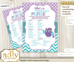 Girl Owl What is in Mommy's Purse, Baby Shower Purse Game Printable Card , Teal Purple,  Chevron