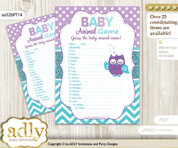 Printable Girl Owl Baby Animal Game, Guess Names of Baby Animals Printable for Baby Owl Shower, Teal Purple, Chevron