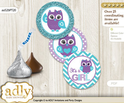 Printable  Girl Owl Candy Kisses for Baby Girl Shower DIY Teal Purple , Chevron