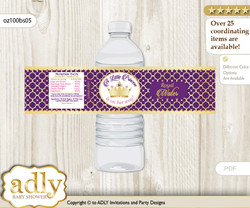 Pink Purple Princess Water Bottle Wrappers, Labels for a Princess  Baby Shower, Gold, Royal