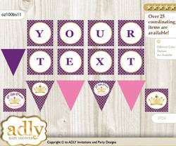 Personalized Pink Purple Princess Printable Banner for Baby Shower, Gold, Royal