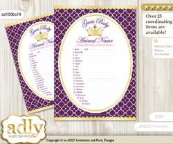 Printable Pink Purple Princess Baby Animal Game, Guess Names of Baby Animals Printable for Baby Princess Shower, Gold, Royal
