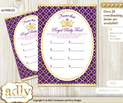 Pink Purple Princess Guess Baby Food Game or Name That Baby Food Game for a Baby Shower, Gold Royal