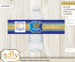 Royal Prince Water Bottle Wrappers, Labels for a Prince  Baby Shower, Blue Gold, Crown