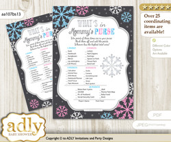 Boy Girl Snowflake What is in Mommy's Purse, Baby Shower Purse Game Printable Card , Pink Blue,  Winter