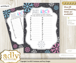 Boy Girl Snowflake Baby ABC's Game, guess Animals Printable Card for Baby Snowflake Shower DIY –Winter