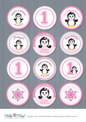Personalized First Birthday Cupcake Toppers,Favor Tags, Girl 1st Birthday, penguin,snowflake,winter - ONLY digital file - you print ao54