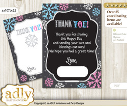 Boy Girl  Snowflake Thank you Cards for a Baby Boy Girl Shower or Birthday DIY Pink Blue, Winter