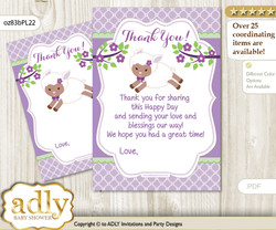 Girl  Lambie Thank you Cards for a Baby Girl Shower or Birthday DIY Lime Green, Purple