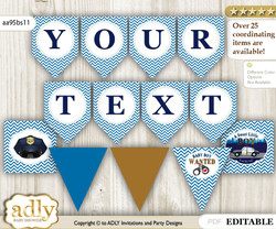 Personalized Boy Police Printable Banner for Baby Shower, Sheriff, Chevron